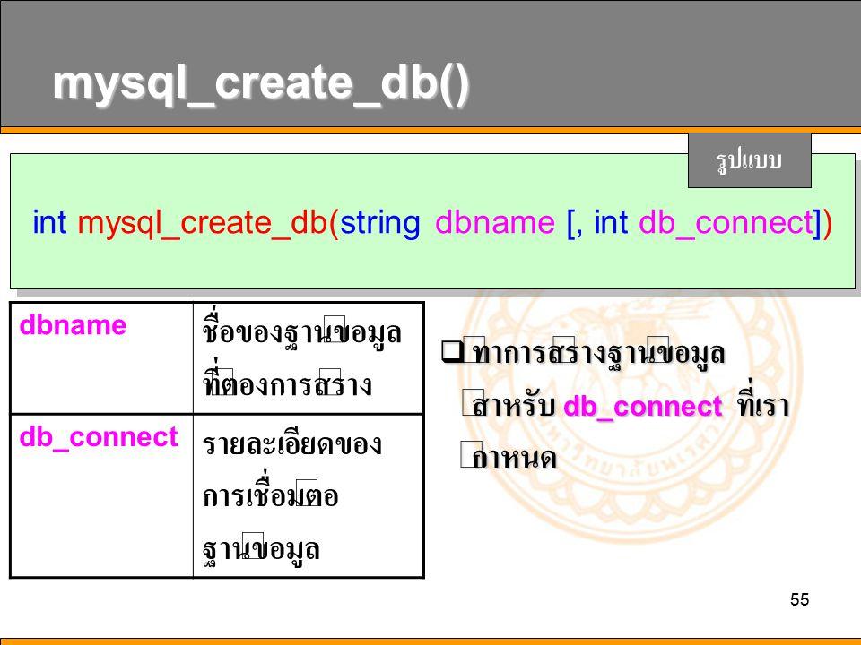 int mysql_create_db(string dbname [, int db_connect])